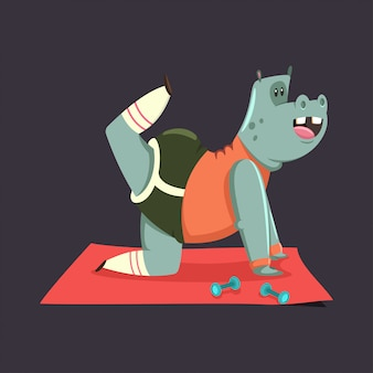 Cute hippo cartoon character doing exercises for buttocks  isolated on .