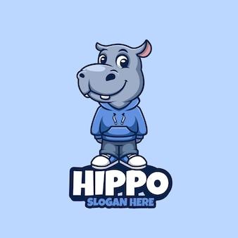 Cute hippo cartoon mascot logo design