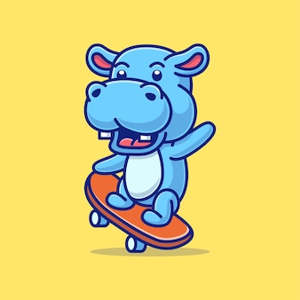 Милый мультфильм бегемота