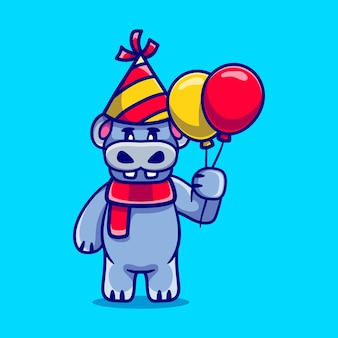 Cute hippo celebrating happy new year or birthday with balloons