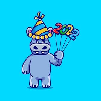 Милый бегемот празднует новый год с воздушными шарами 2022 года