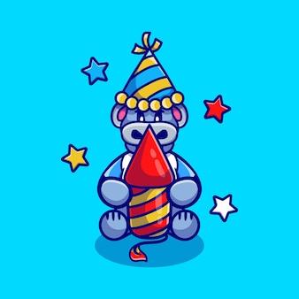 Милый бегемот празднует новый год с ракетой фейерверка