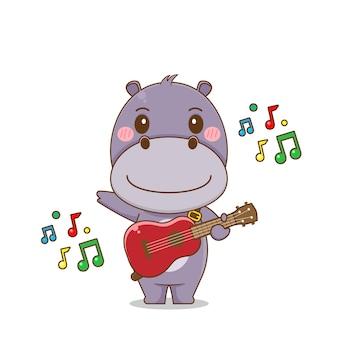 Милый бегемот персонаж играет на гитаре