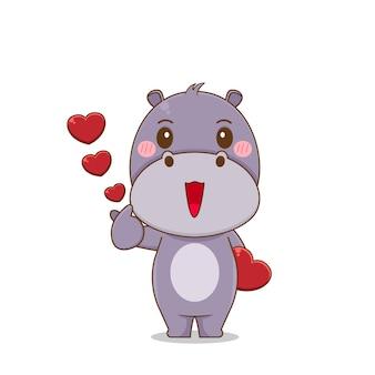 Милый бегемот персонаж позирует любовный палец
