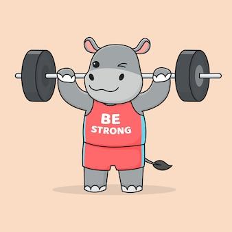 Милый бегемот делает тяжелую атлетику