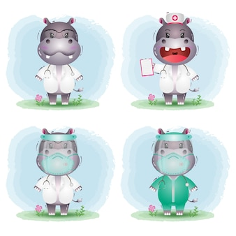 Cute hippo in doctor and nurse costume collection