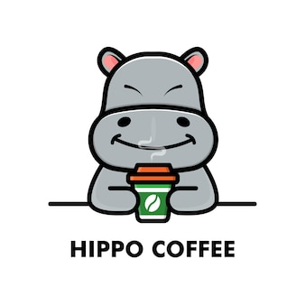 귀여운 하마 음료 커피 컵 만화 동물 로고 커피 그림