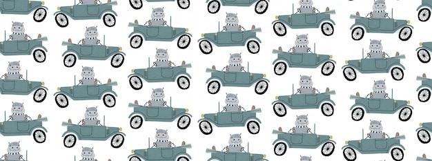 レトロな車を運転するかわいいカバ。子供の手がシームレスなパターンを描く