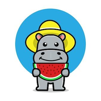 Cute hippo eat watermelon cartoon illustration