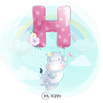 Cute hippo flying with alphabet-h balloon