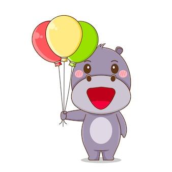 Милый бегемот держит воздушный шар