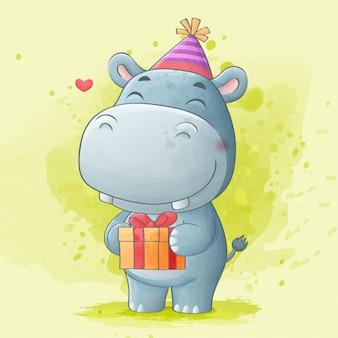 Cute hippo holding gift box birthday. watercolor illustration.