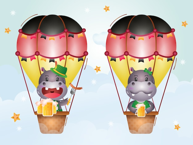 Cute hippo on hot air balloon with traditional oktoberfest dress