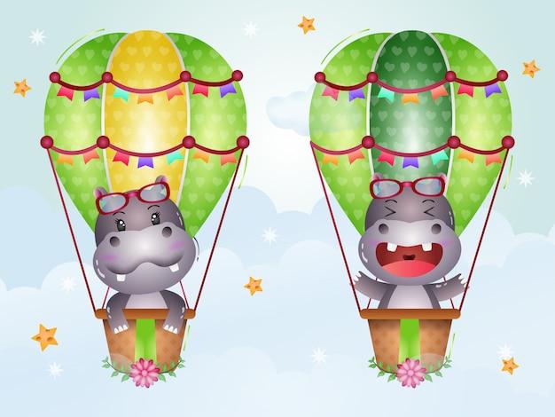 Cute hippo on hot air balloon