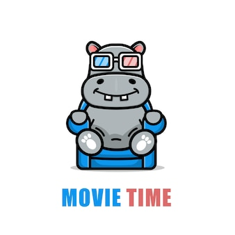 Cute hippo is watching a film cartoon illustration