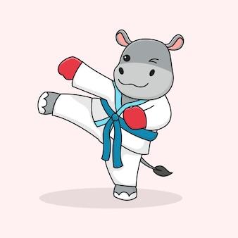 Cute hippo martial kicking