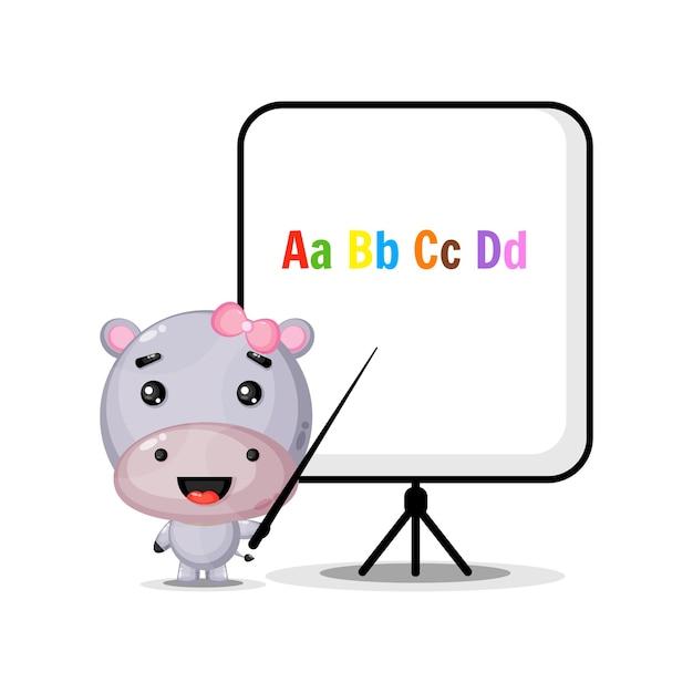 Cute hippo mascot explains the alphabet