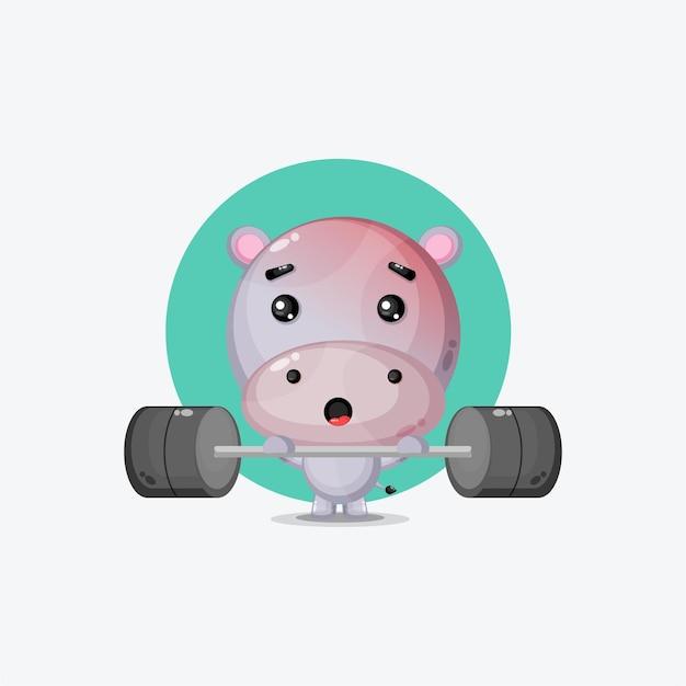 Cute hippo mascot gym fitness