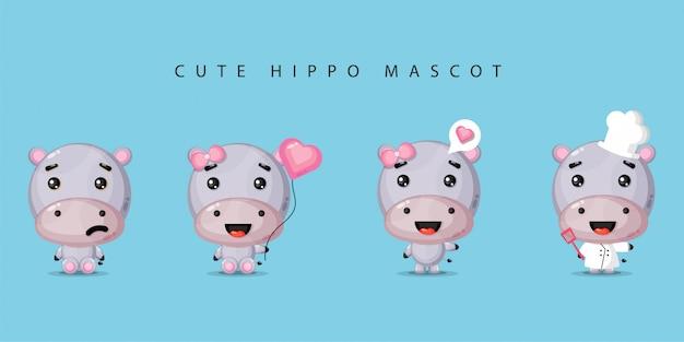 Cute hippo mascot set