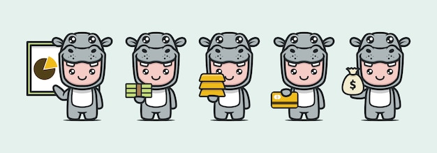 Cute hippo mascot with business theme