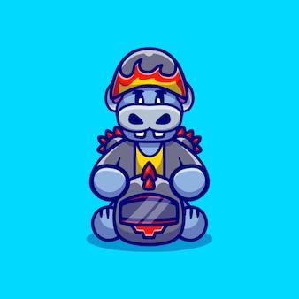 Cute hippo motorcycle gang member