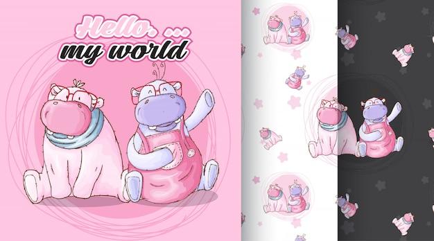 Cute hippo pattern illustration