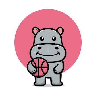 Cute hippo play basketball cartoon vector illustration