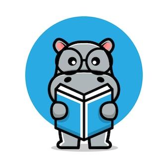 Cute hippo reading a book cartoon vector illustration