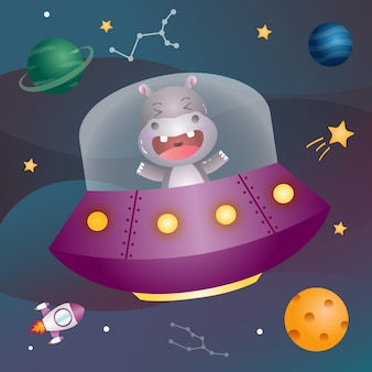 A cute hippo in the space galaxy