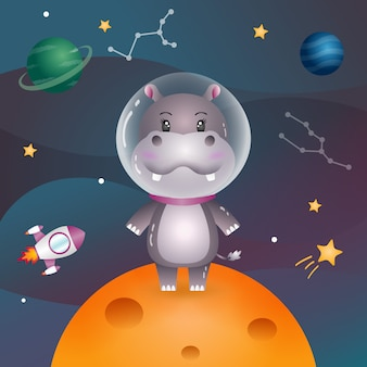 Cute hippo in the space galaxy