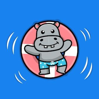 Cute hippo swimming with swim ring illustration