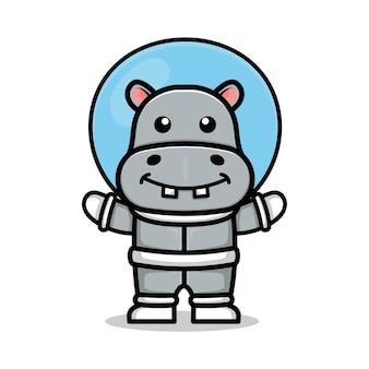 宇宙飛行士のスーツのイラストを身に着けているかわいいカバ