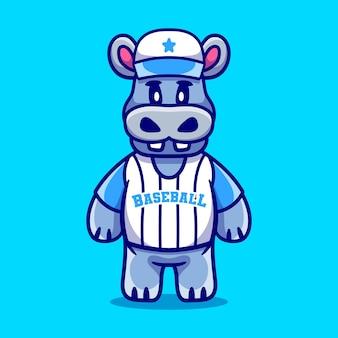 Cute hippo wearing baseball uniform
