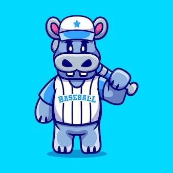 Cute hippo with baseball bat