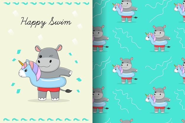 Cute hippo with blue unicorn swim ring seamless pattern and card