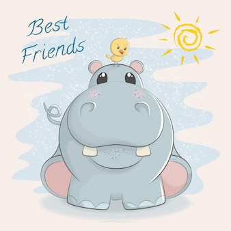 Cute hippo with little bird