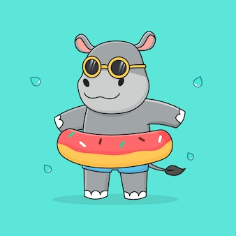 Cute hippo with swim ring doughnut and sunglasses
