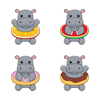 Cute hippo with swim ring