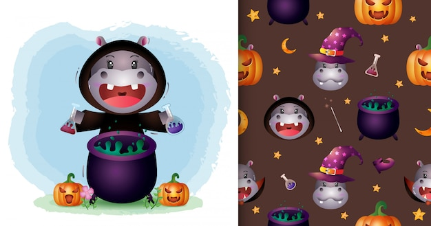A cute hippo with witch costume halloween character collection. seamless pattern and illustration designs