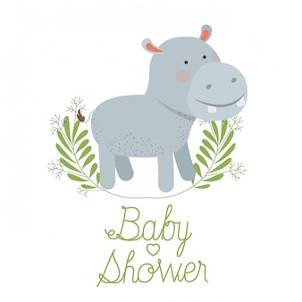Cute hippo with wreath baby shower card