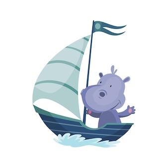 보트를 타고 항해하는 귀여운 하마 동물. 흰색 배경에 고립 된 물 파도와 요트에 벡터 재미있는 만화 선원. 아기 캐릭터