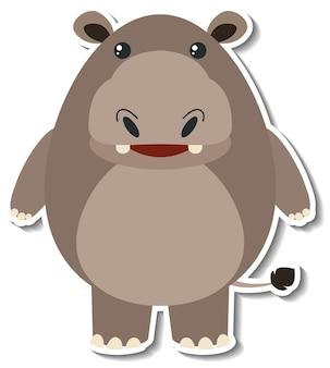 Un simpatico adesivo animale cartone animato ippopotamo
