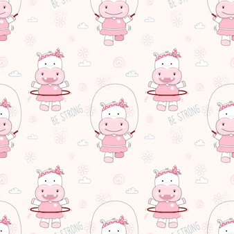 Cute hippopotamus exerciseing seamless pattern