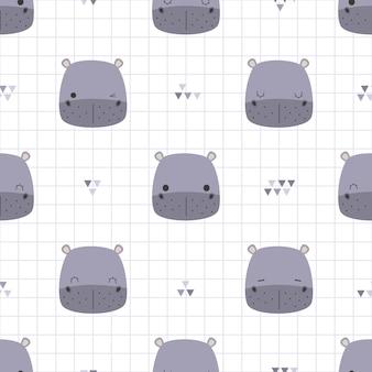 Cute hippopotamus head on grid cartoon doodle seamless pattern