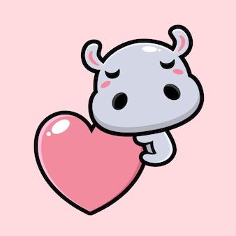 귀여운 하마 포옹 사랑 마음