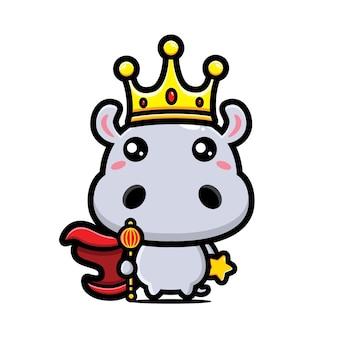 귀여운 하마 왕 캐릭터 디자인