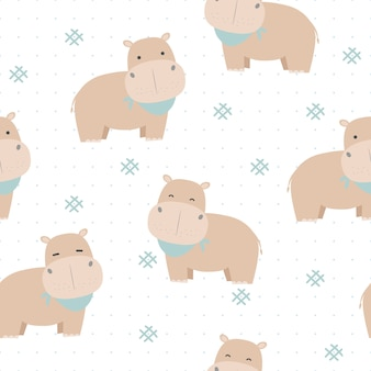 Cute hippopotamus with dot cartoon seamless pattern