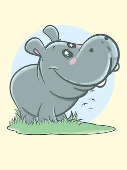 Cute hippos cartoon characters