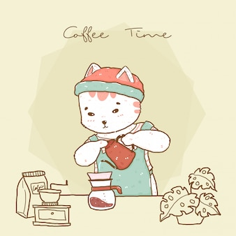 Cute hipster cat barista in apron pouring drip coffee
