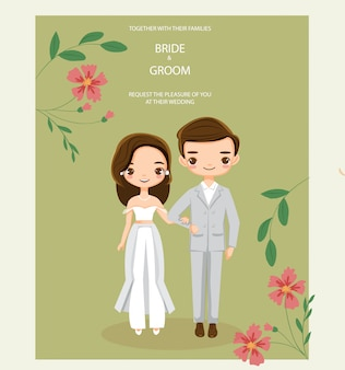 Cute hipster couple for wedding invitations card